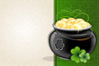 Pot with gold coins on vintage background