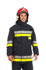 Firefighter posing, Front view.
