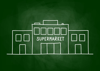 Supermarket drawing on blackboard