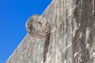 Ring carved on the Great ball court of Chichen Itza, Mexico
