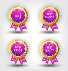 Set of best badge purple color