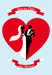 bride and groom with red heart, vector