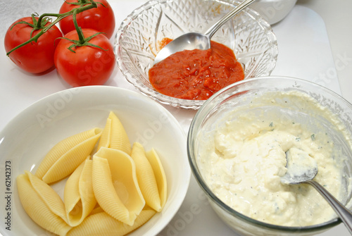 Ingredients for Baked Stuffed Pasta Shells