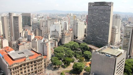 Aerial view of the center of Sao Paulo, Brazil