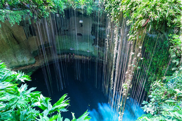 Top view of Ik-Kil Cenote, near Chichen Itza, Mexico
