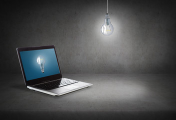 laptop computer with light bulb on screen