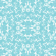 Vintage vector seamless background, blue and white decor