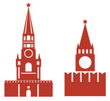 vector illustration of two variations of spasskaya tower and req