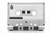 Audio cassette tape, black and white