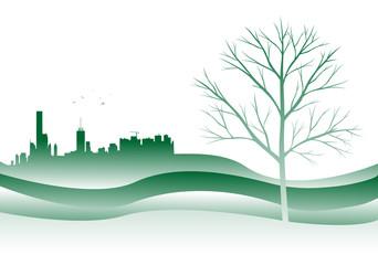 silhouette di città con albero spoglio