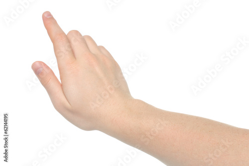 Man hand on white background .