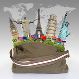 Travel the world monuments bag concept