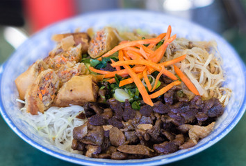 Traditional Bowl of Vietnamese Bun Vermicelli Rice Stick Salad