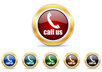 call us icon vector set