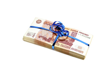 Pack of five thousandth Russian rubles, tied a blue ribbon