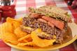 Hamburger sandwich and chips