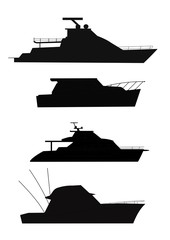 fishing boats silhouettes