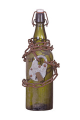 old bottle captured with chain and padlock