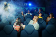 People in 3D Cinema with soldier