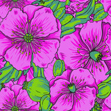 Violet poppy flowers - vector seamless pattern, vivid