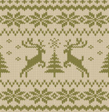 Seamless Knitted Pattern with Deers. Vector Background