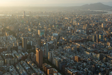 Bird's eye view of Taipei, Taiwan at sunset