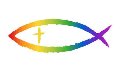 Christliches Fisch-Symbol in Regenbogenfarben, locker gezeichnet