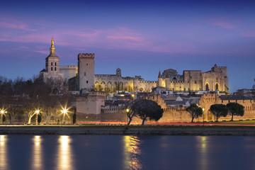 Ville d'Avignon depuis des berges du Rhône