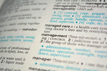 Dictionary definition of the word management