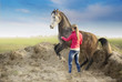 Woman and rising arabian horse on background of sand and fields