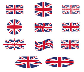 Uk flag with different shapes, vector, great britain flag