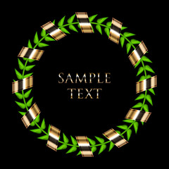 Vector laurel wreath with gold ribbon