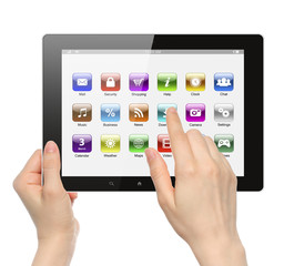 Woman hands hold and touch icon on tablet PC