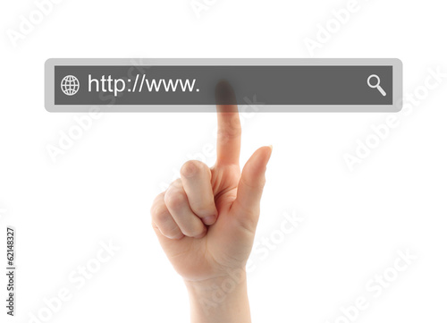 Hand pushing virtual search bar on white background