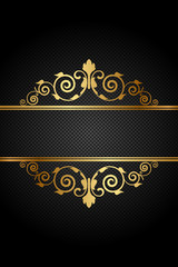 Vector vintage frame with gold ornament