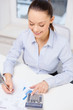 businesswoman working with documents in office