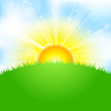 Vector illustration of sun, sky and grass