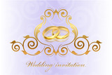 Vector purple wedding invitation with gold rings