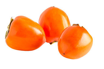 Orange persimmons on a white background