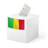 Ballot box with voting paper. Mali