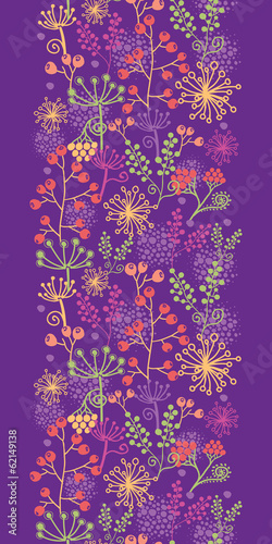 vector colorful garden plants vertical seamless pattern