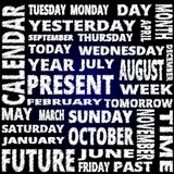 Time and calendar word cloud scribble style