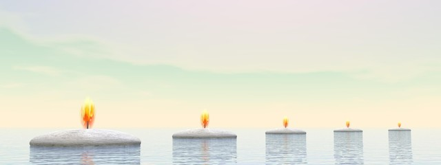 Candle steps - 3D render