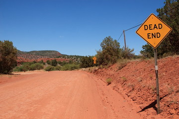 Road Sign of Dead End in Sedona