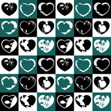 Seamless pattern with grunge ink splattered hearts