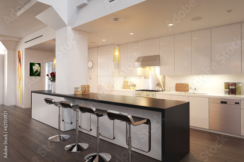 Kitchen implemented inside a city loft