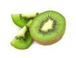 Kiwi fruit sliced segments isolated on white background