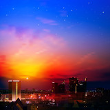 abstract nature background with city and sunrise