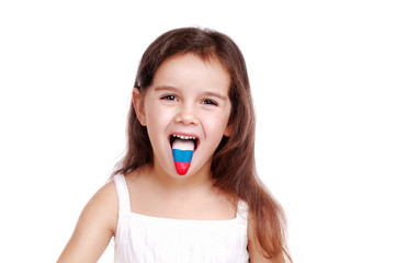 little girl with russian flag on her tongue
