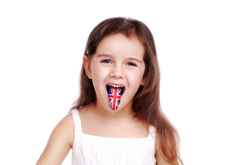 girl showing tongue with british flag on it